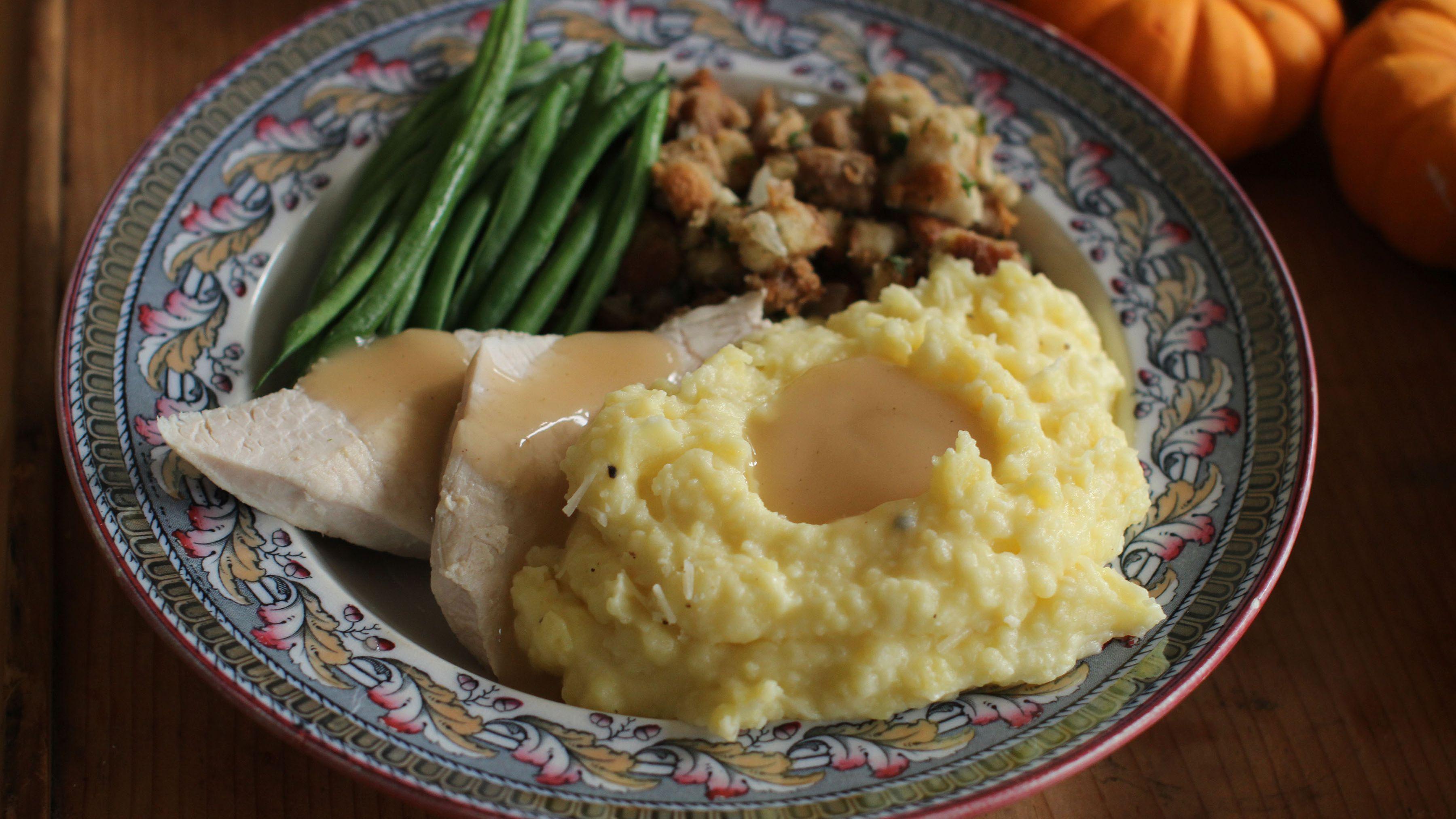 Thanksgiving meal mashed potatoes turkey