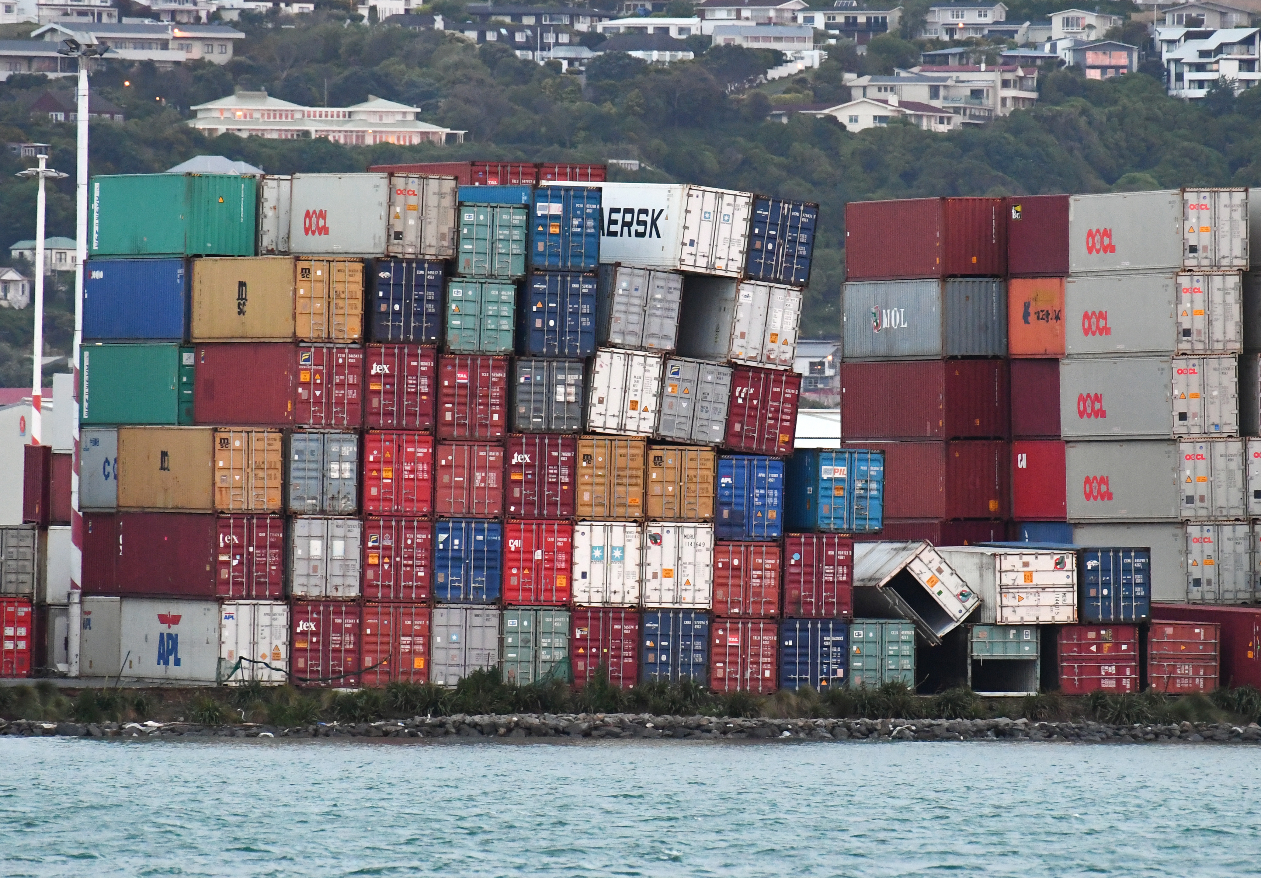 Stacked containers are affected after a 7.5 earthquake based around Cheviot in the South island shock the capital, at Centre Port, in Wellington, New Zealand, early 14 November 2016. According to reports, a 7.8 magnitude earthqauke has hit New Zealand overnight, triggering a tsunami warning for the east coast of the country.