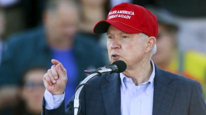 U.S. Senator Jeff Sessions speaks to supporters of U.S. Republican presidential candidate Donald Trump