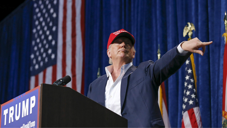 Trump wears a Make America Great Again hat