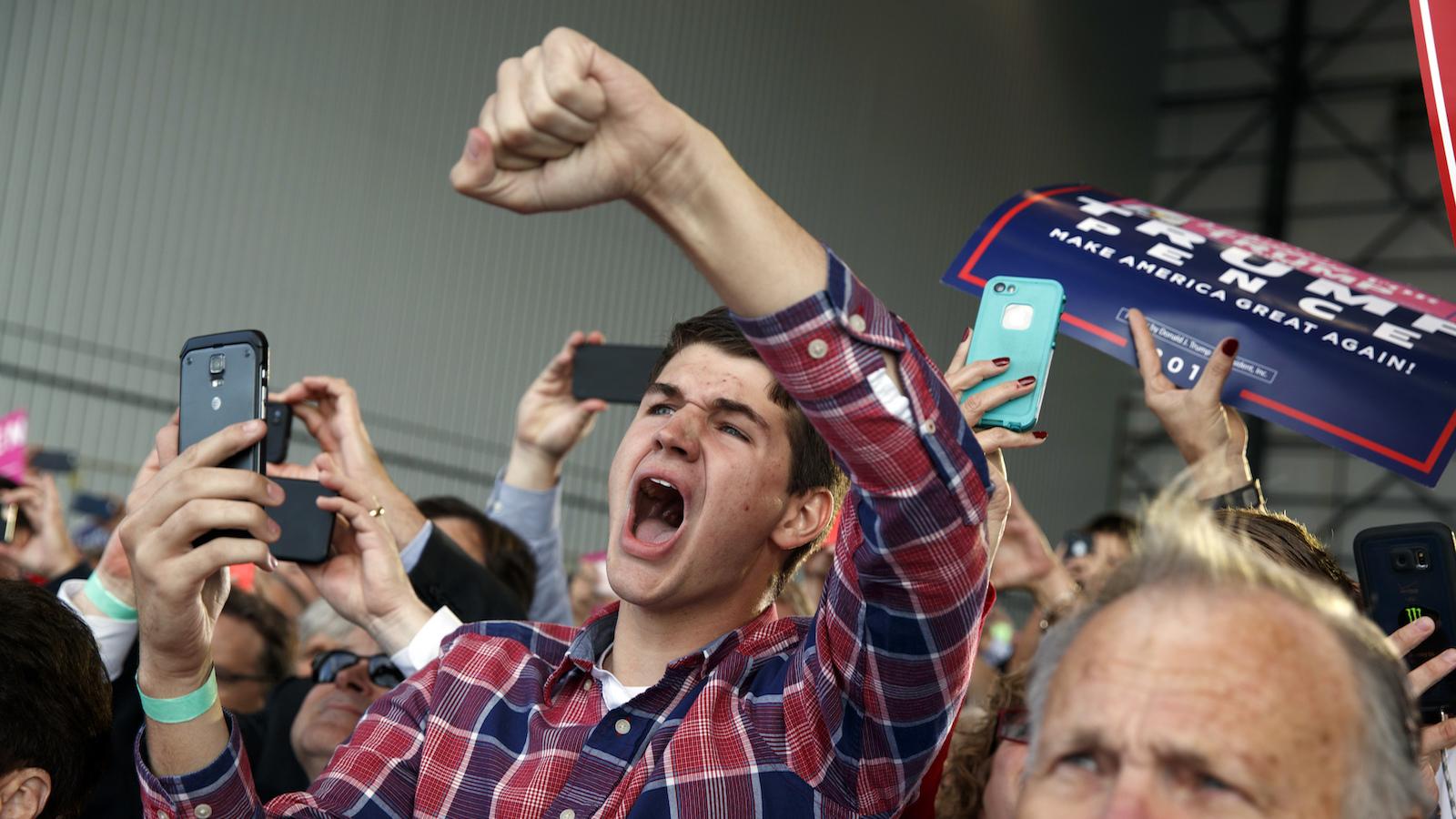 Donald Trump supporter cheers