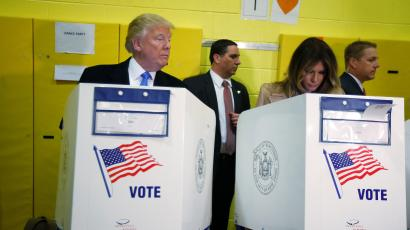Republican presidential nominee Donald Trump and his wife Melania Trump vote at PS 59 in New York, New York.