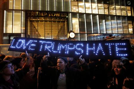 People protest outside Trump Tower following President-elect Donald Trump's election victory in Manhattan, New York, U.S.