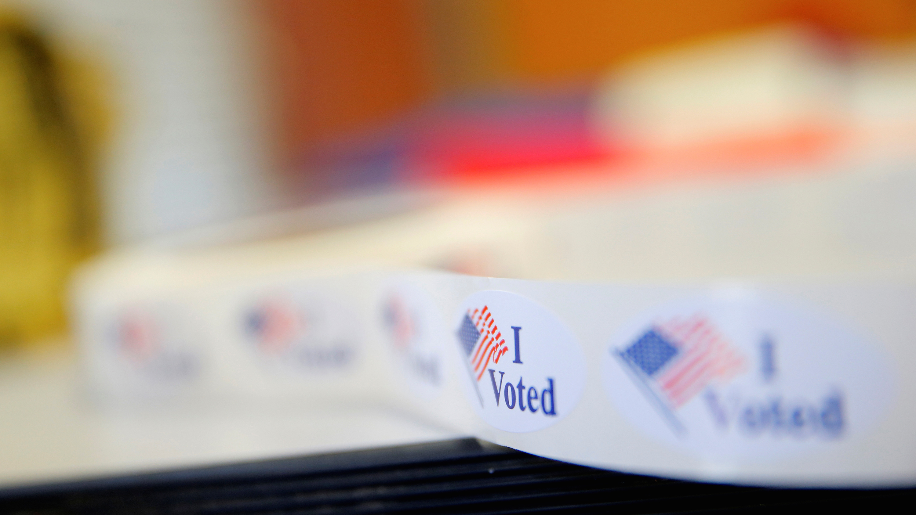 """""""I Voted"""" stickers are seen during early voting at West Charlotte Public Library in Charlotte"""