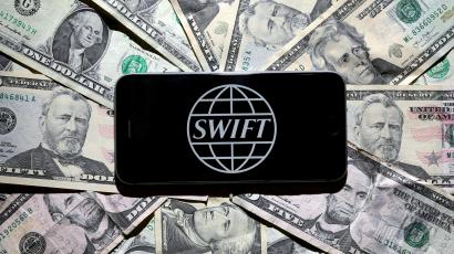 The Swift bank logo is pictured in this photo illustration taken April 2, 2016.