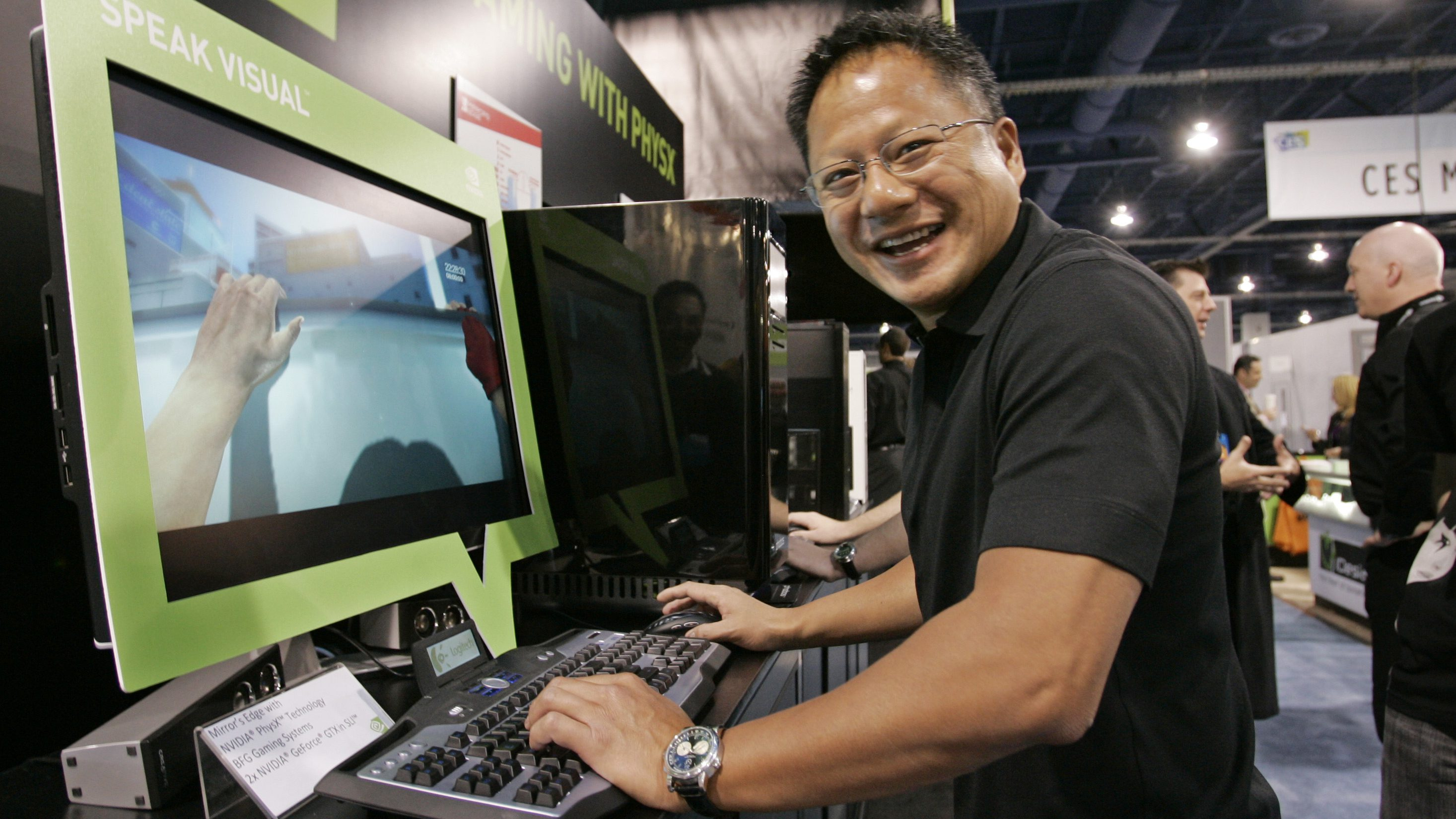 Nvidia CEO Jen-Hsun Huang plays with a game using Nvidia's Physx technology for gaming, at the International Consumer Electronics Show in Las Vegas, Thursday, Jan. 8, 2009. Nvidia made the graphics chip technology Physx that helps enhance gaming. (AP Photo/Paul Sakuma)