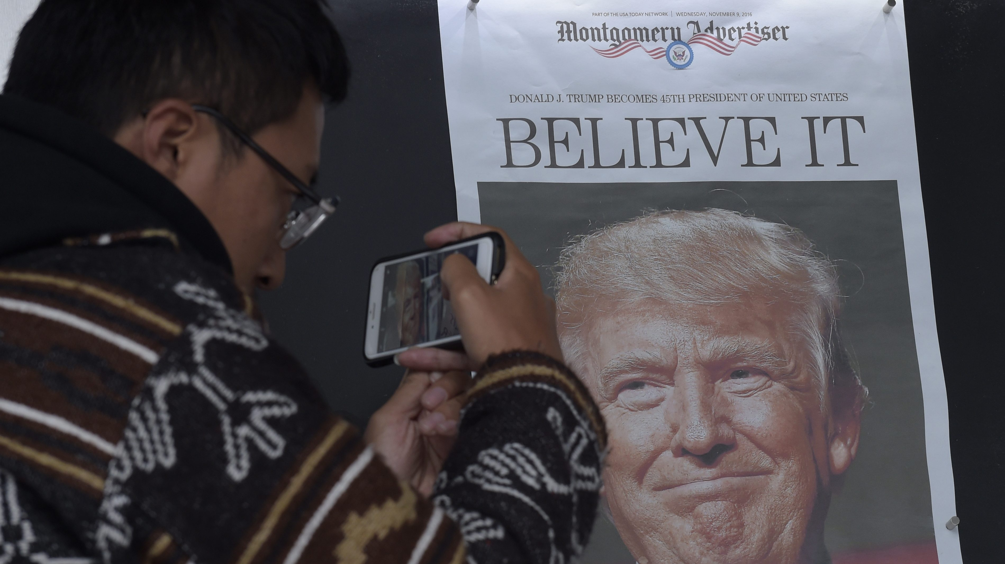 Photo of Donald Trump front page newspaper