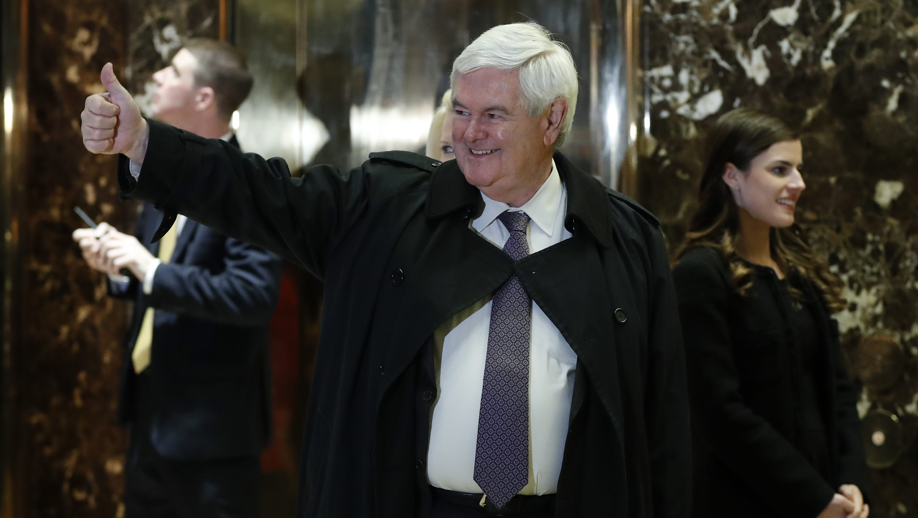 Former House Speaker Newt Gingrich gives the thumps-up as he arrives at Trump Tower, Monday, Nov. 21, 2016 in New York, to meet with President-elect Donald Trump. (AP Photo/Carolyn Kaster)