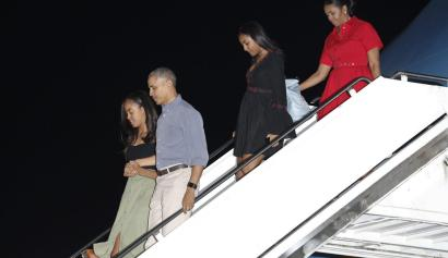 The Obama family landed in Hawaii on their last presidential vacation