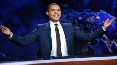 """Trevor Noah on set during a taping of """"The Daily Show with Trevor Noah"""""""