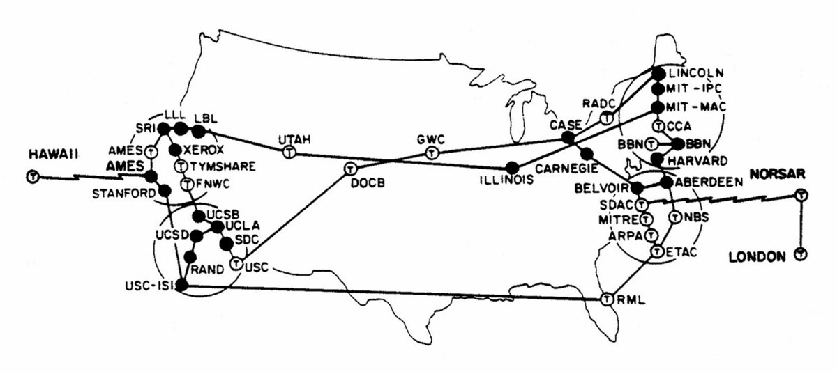 A 1973 map of the internet charted by DARPA — Quartz