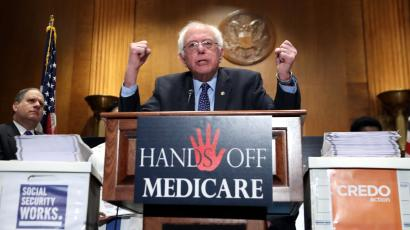 "Sen. Bernie Sanders, I-Vt., speaks during a news conference on Capitol Hill in Washington, Wednesday, Dec. 7, 2016, to deliver over million petition signatures demanding that President-elect Donald Trump, House Speaker Paul Ryan, and Senate Majority Leader Mitch McConnell ""keep their hands off the American people's earned Medicare benefits."""