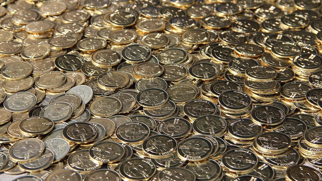 A pile of physical bitcoins