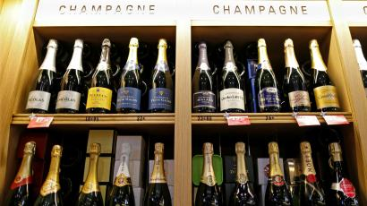 Bottles of Champagne at a liquor store.