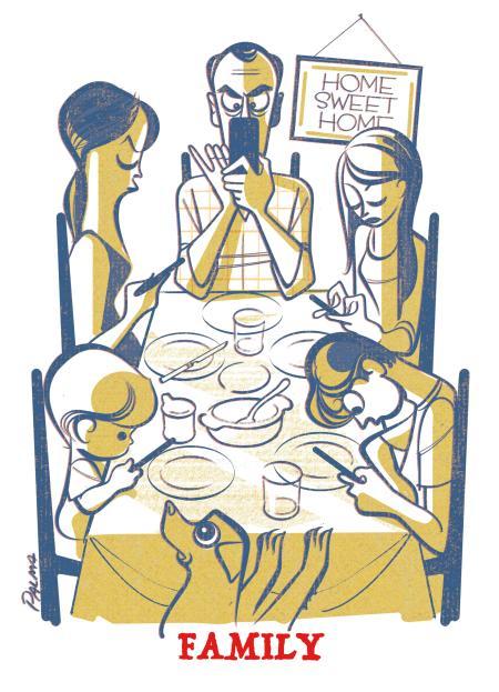 Drawing of family members at a table all looking at their devices