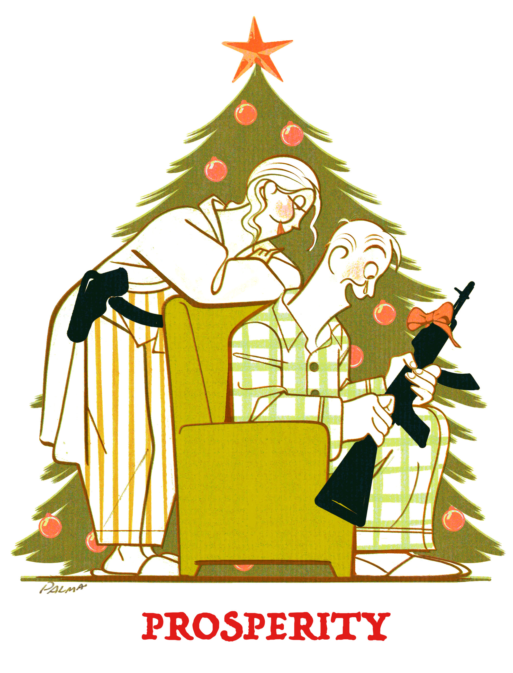 Drawing of a family exchanging guns for Christmas