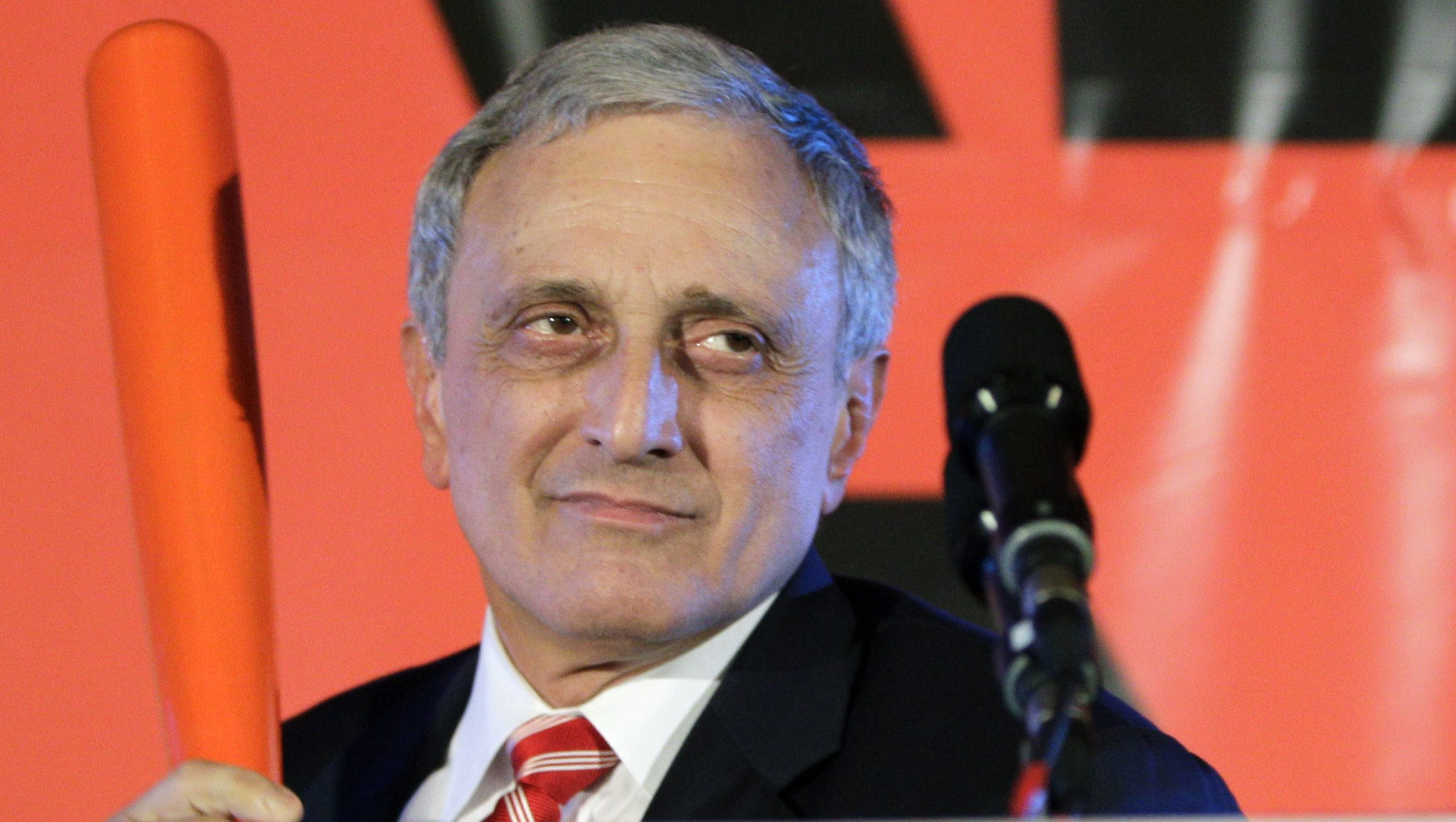 Republican gubernatorial candidate Carl Paladino holds a baseball bat as he concedes the election in Buffalo, N.Y., Tuesday, Nov. 2, 2010.