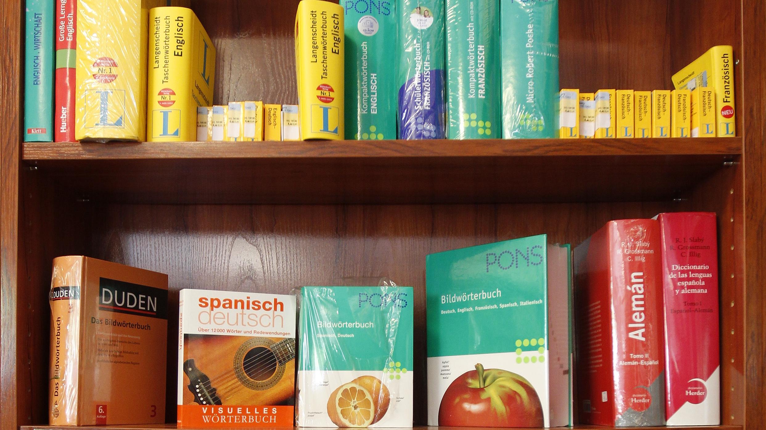 Dictionaries in different languages.