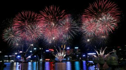 Fireworks above Victoria Harbor to celebrate China Day.