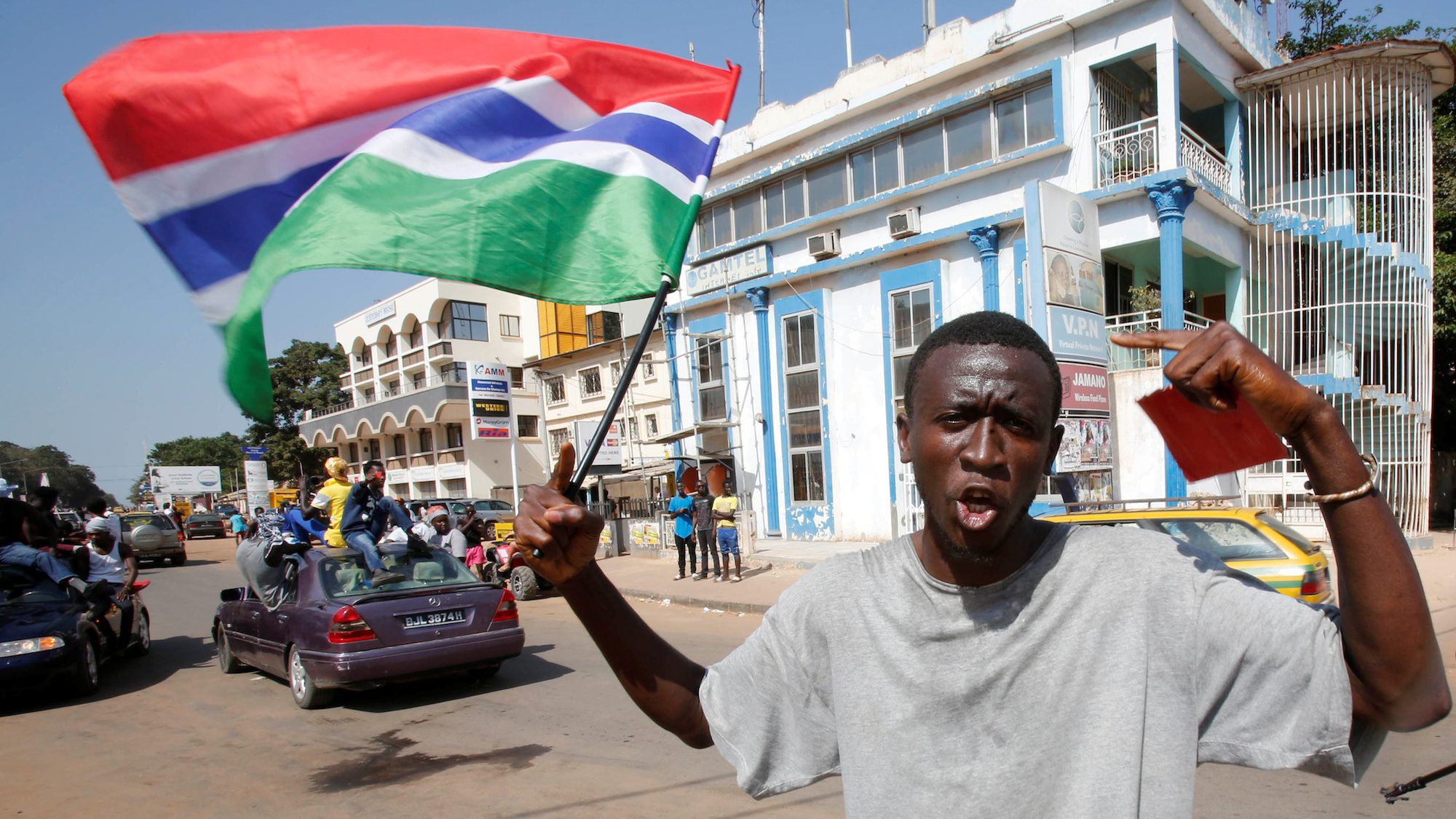 Celebrations in Banjul, Gambia after the election of Dec 1 led to the win of Adama Barrow.