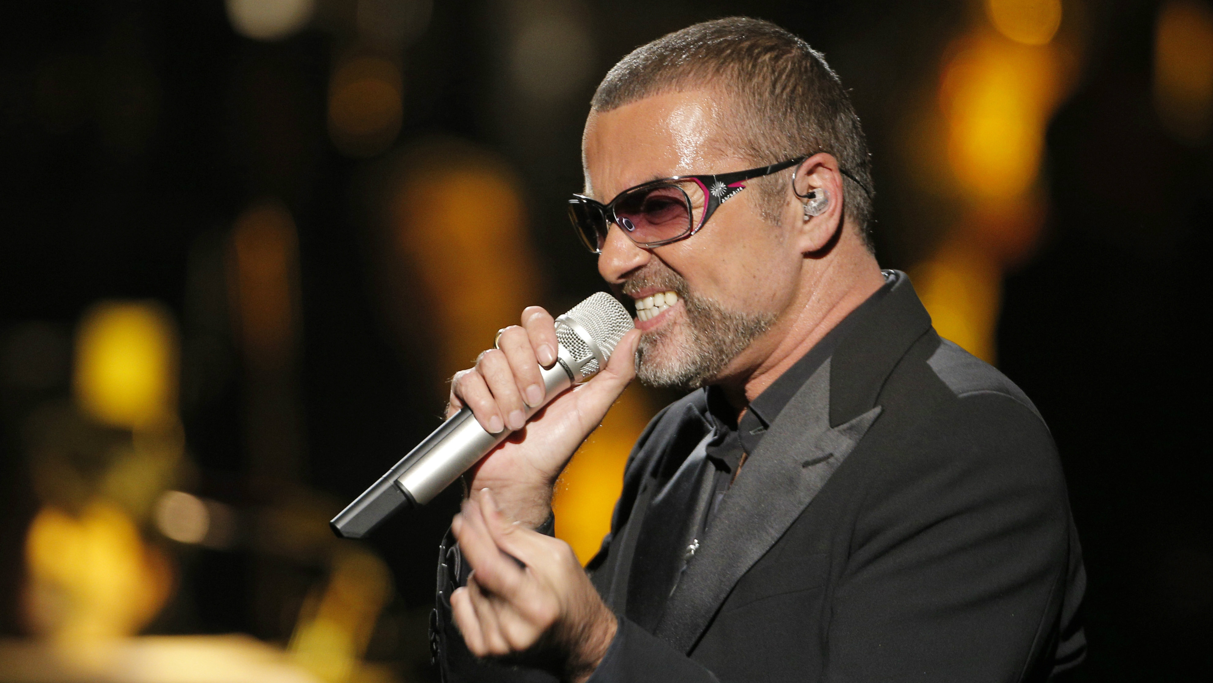 British singer George Michael in concert to raise money for AIDS charity Sidaction, in Paris, France in 2012.