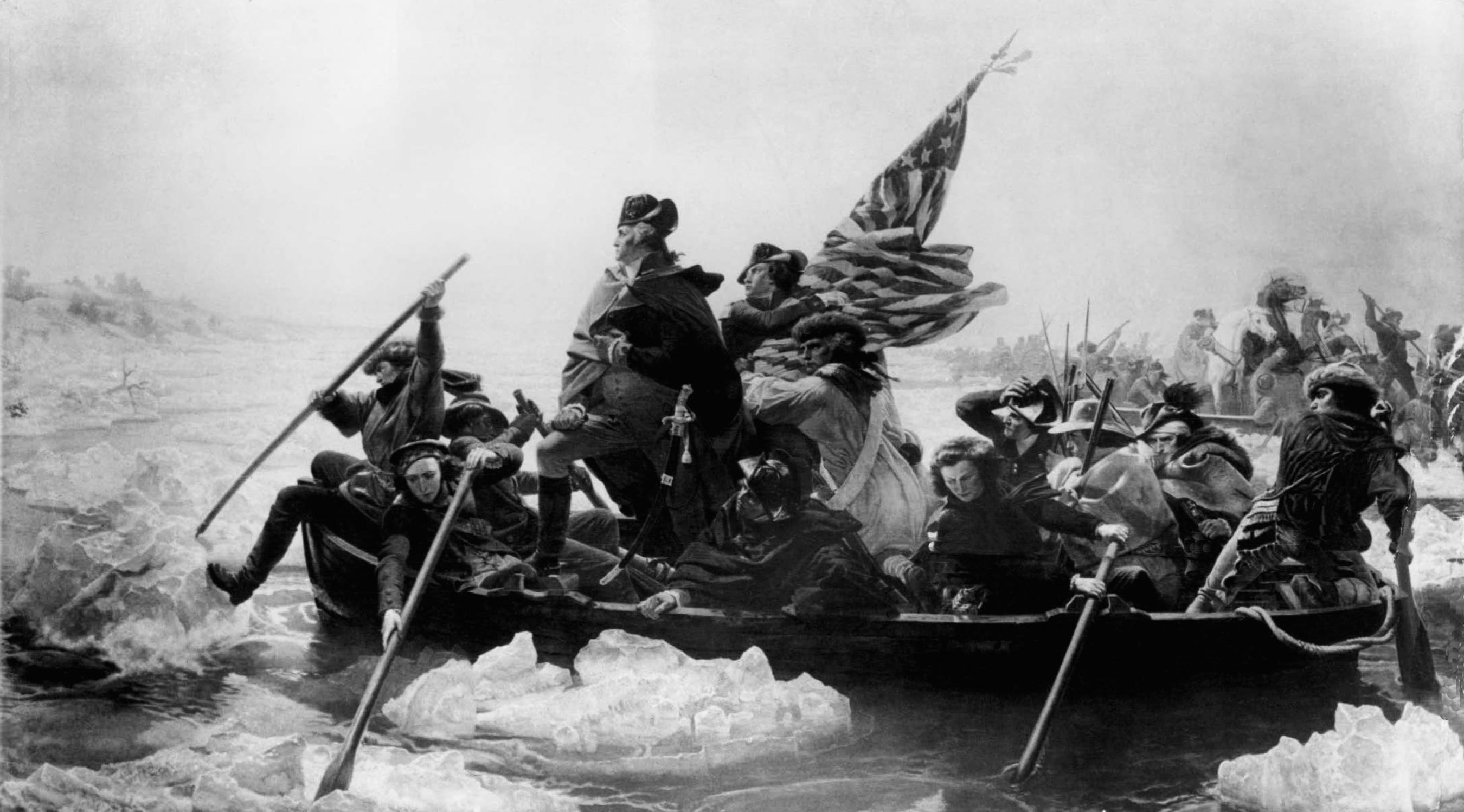 Gen. George Washington leads his troops across the Delaware River in this painting by Emmanuel G. Leutze, Dec. 1776, during the Revolutionary War.  (AP Photo)