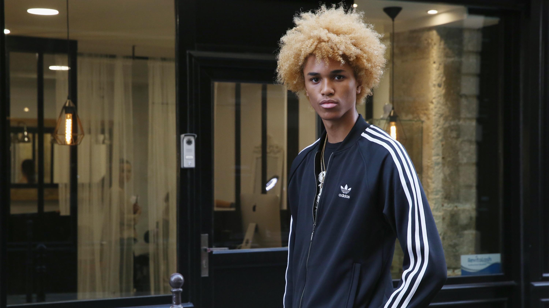 Model Michael Lockley, from agency Marilyn seen wearing Adidas during Paris Fashion Week Spring/Summer 2017 on September 27, 2016 in Paris, France. (Photo by Mireya Acierto/Getty Images)