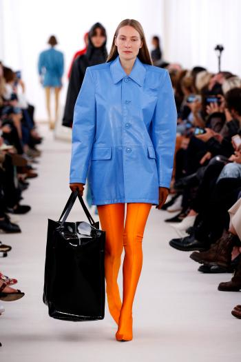 PARIS, FRANCE - OCTOBER 02: A model walks the runway during the Balenciaga designed by Demma Gvasalia show as part of the Paris Fashion Week Womenswear Spring/Summer 2017 on October 2, 2016 in Paris, France. (Photo by Estrop/Getty Images)