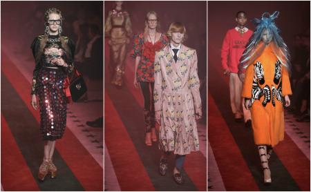 Models wear creations from the Gucci women's Spring-Summer 2017 collection, presented in Milan, Italy, Wednesday, Sept. 21, 2016. (AP Photo/Luca Bruno).