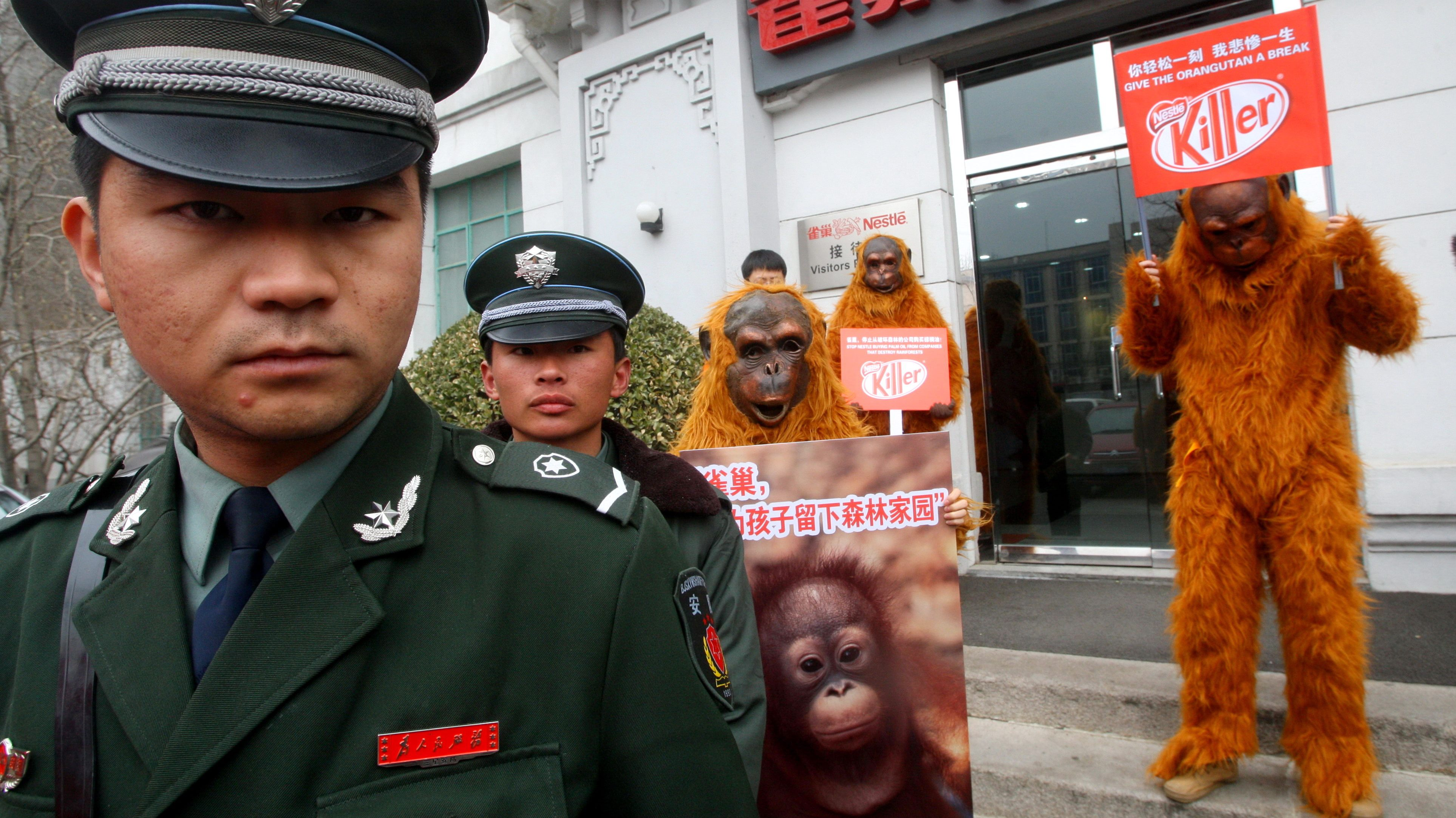 Two security guards stand by the Greenpeace volunteers in orangutan costumes protesting outside the reception office of Nestle in Beijing 18 March 2010. Greenpeace calls on Nestle to stop purchasing palm oil from a Indonesian supplier accused of destroying rainforests recklessly which endangered the specie