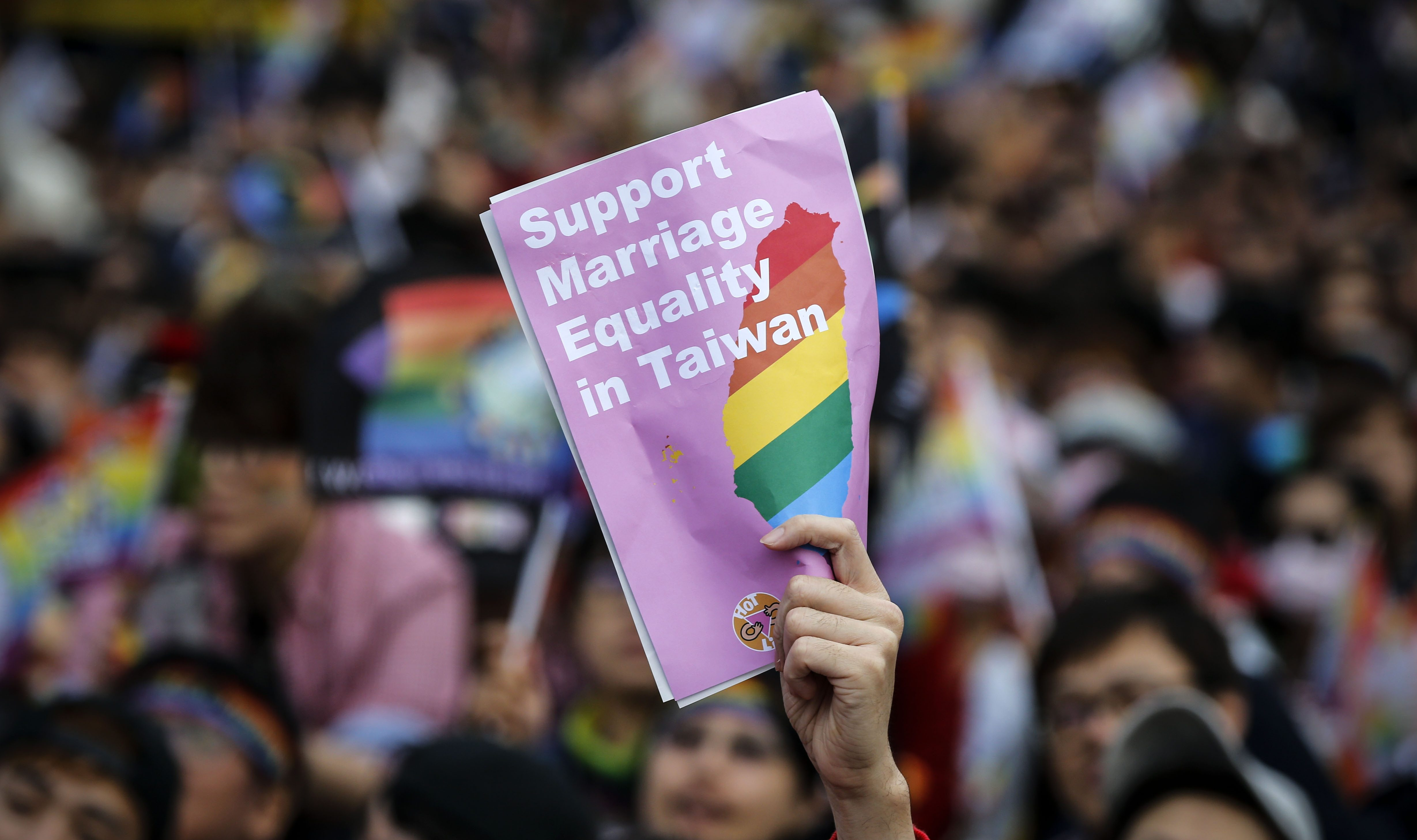 A supporter of LGBT rights at a rally to support the legalizing of same-sex marriage in Taipei, Taiwan, 10 December 2016.