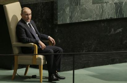 Russian President Vladimir Putin sits on the heads of state chair after addressing the 70th session of the United Nations General Assembly at U.N. headquarters,.