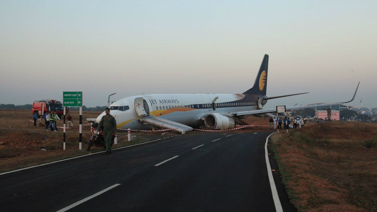 A Jet Airways aircraft is seen after it skidded off the runway before takeoff at an airport in Goa, India December 27, 2016.