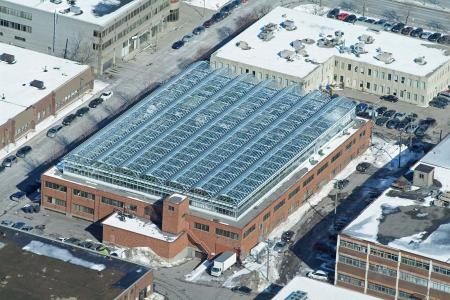 An aerial view of Lufa Farms' first greenhouse in Montreal.