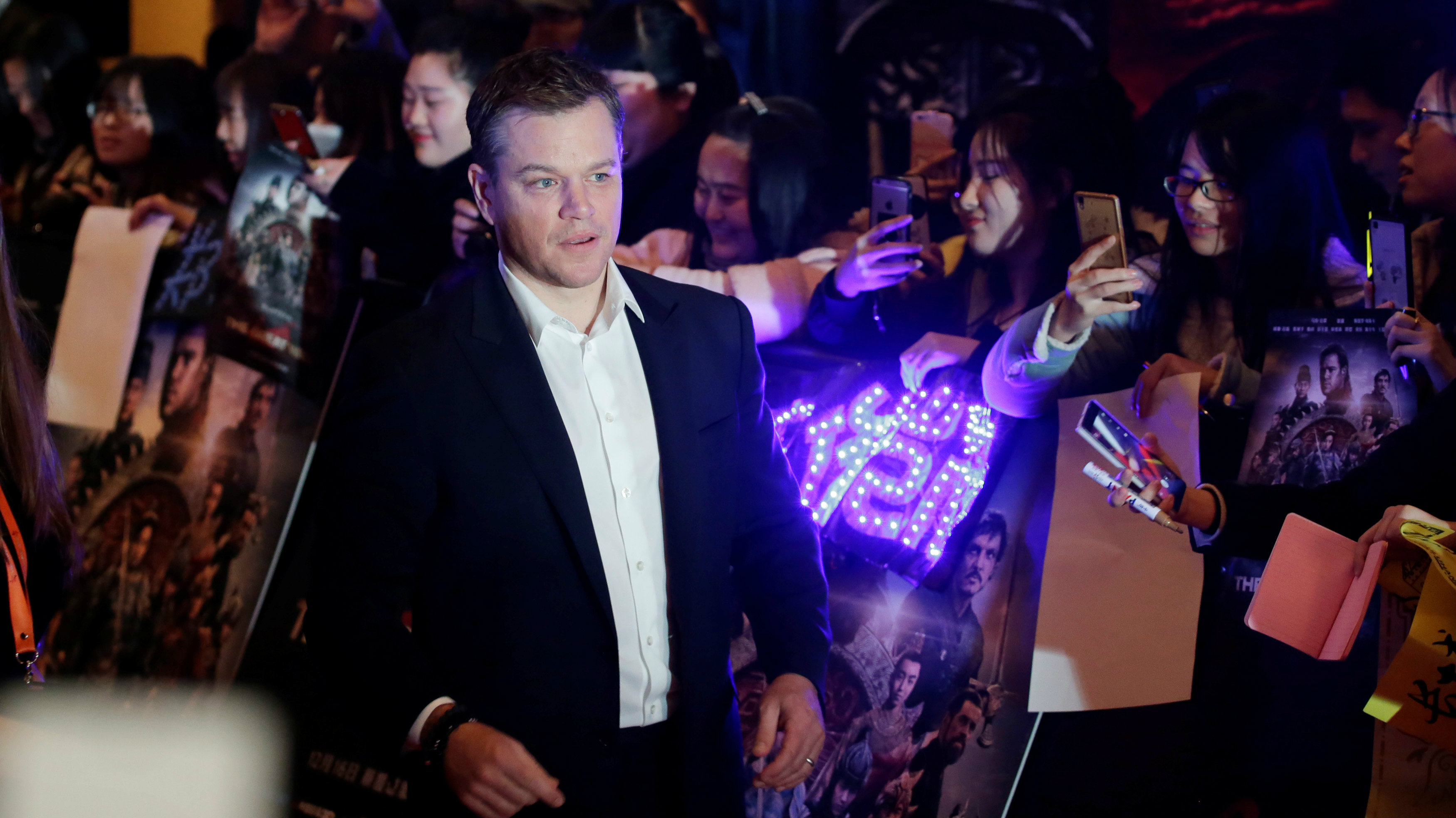 """Actor Matt Damon attends a red carpet event promoting Chinese director Zhang Yimou's latest film """"Great Wall"""" in Beijing, China."""