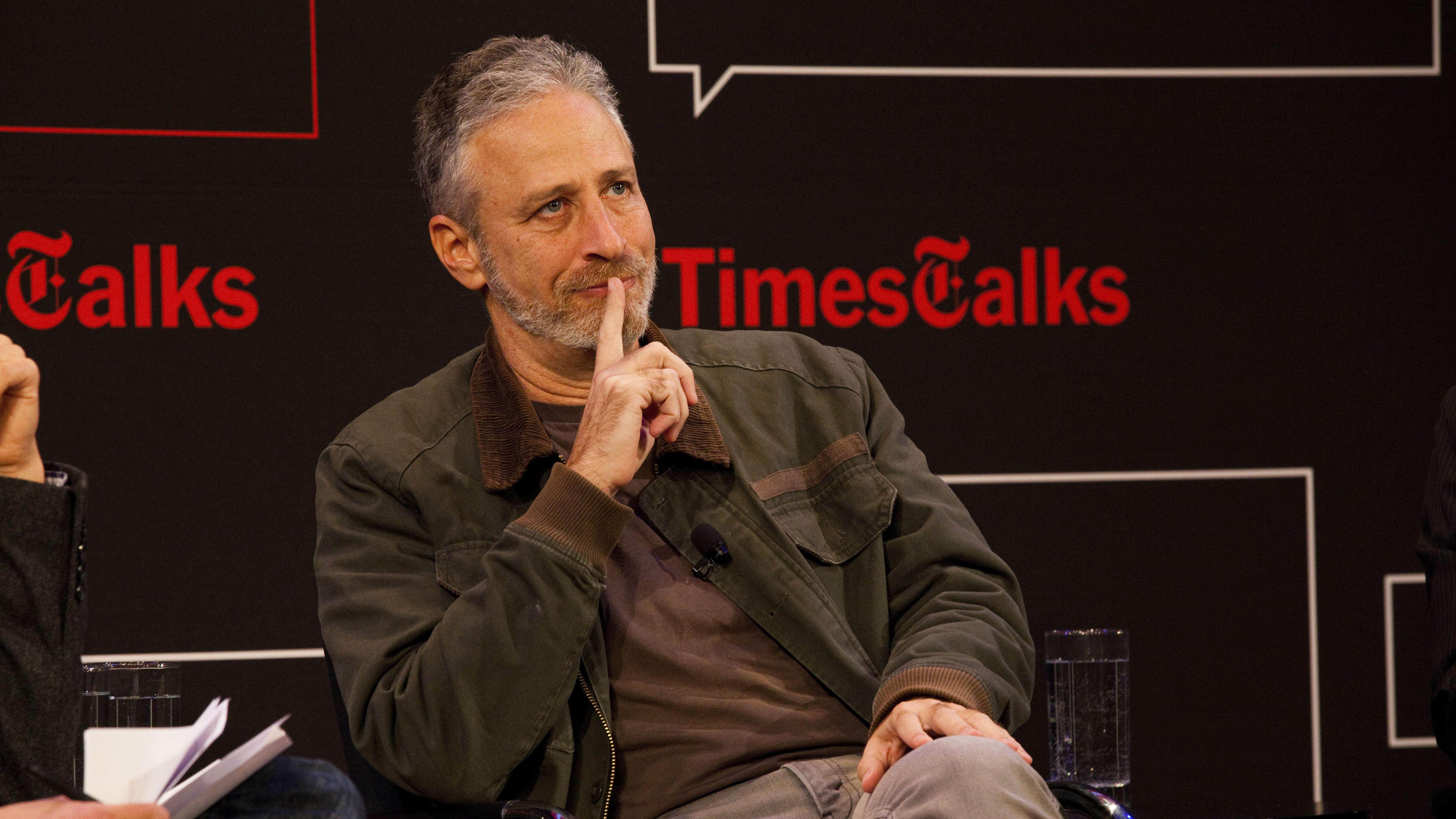 Times Talks with James Poniewozik,  Jon Stewart and Chris Smith. Photo by Steve Meyer.