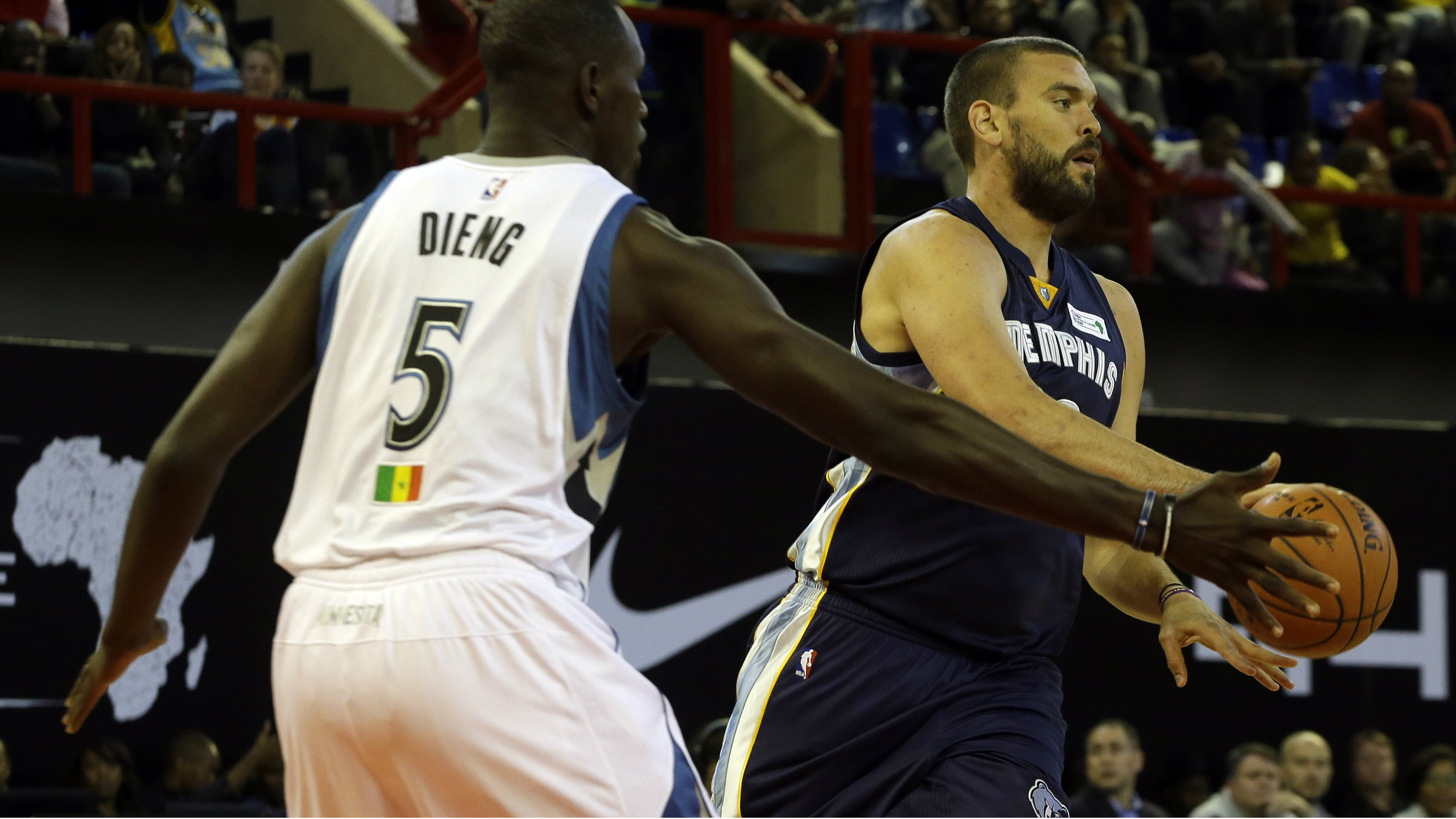 Team World's Marc Gasol of Memphis Grizzlies, right, passes the ball as Team Africa's Luol Deng of Miami Heat defends during the NBA Africa Game at Ellis Park Arena in Johannesburg, South Africa, Saturday, Aug. 1, 2015.