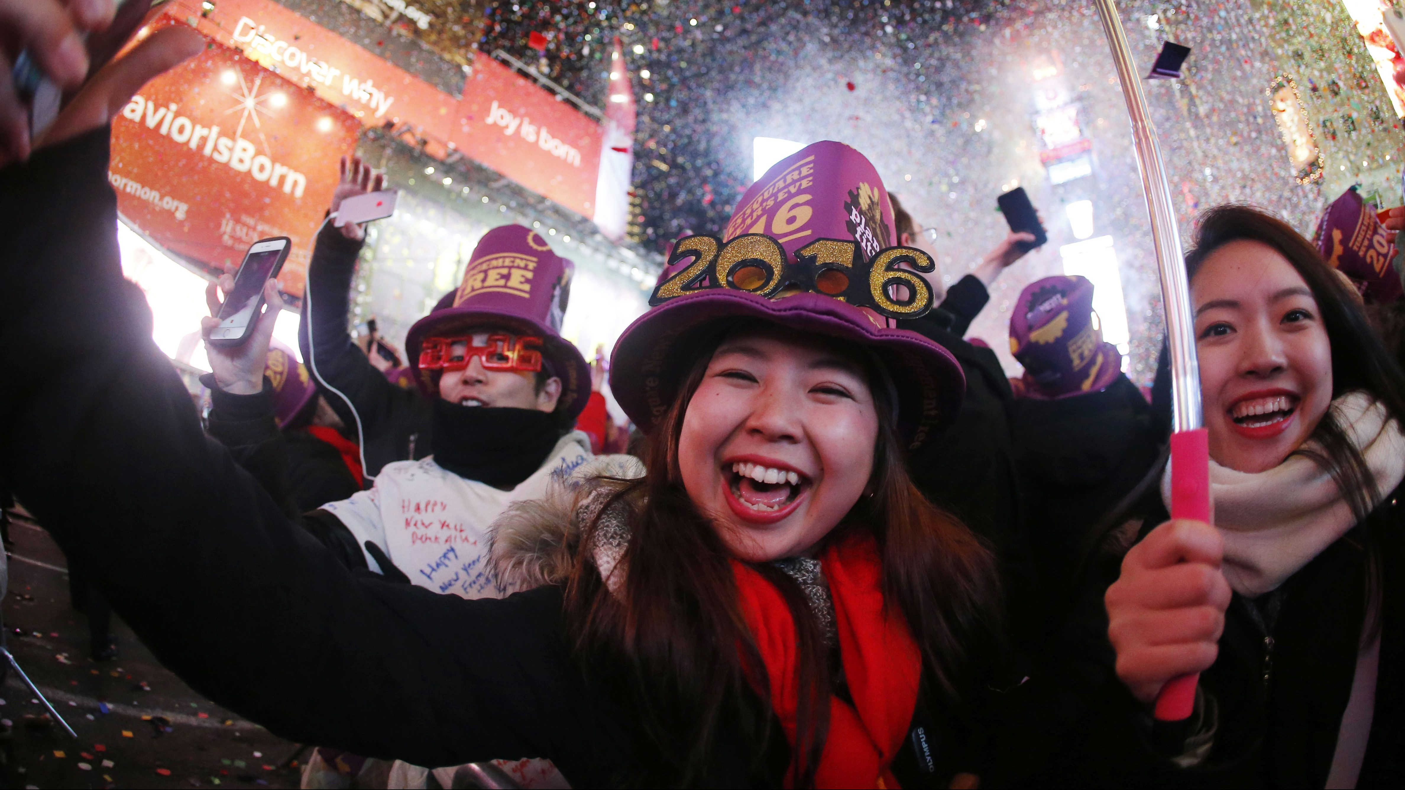 Revelers ring in the new year at Times Square, 2016, in New York.