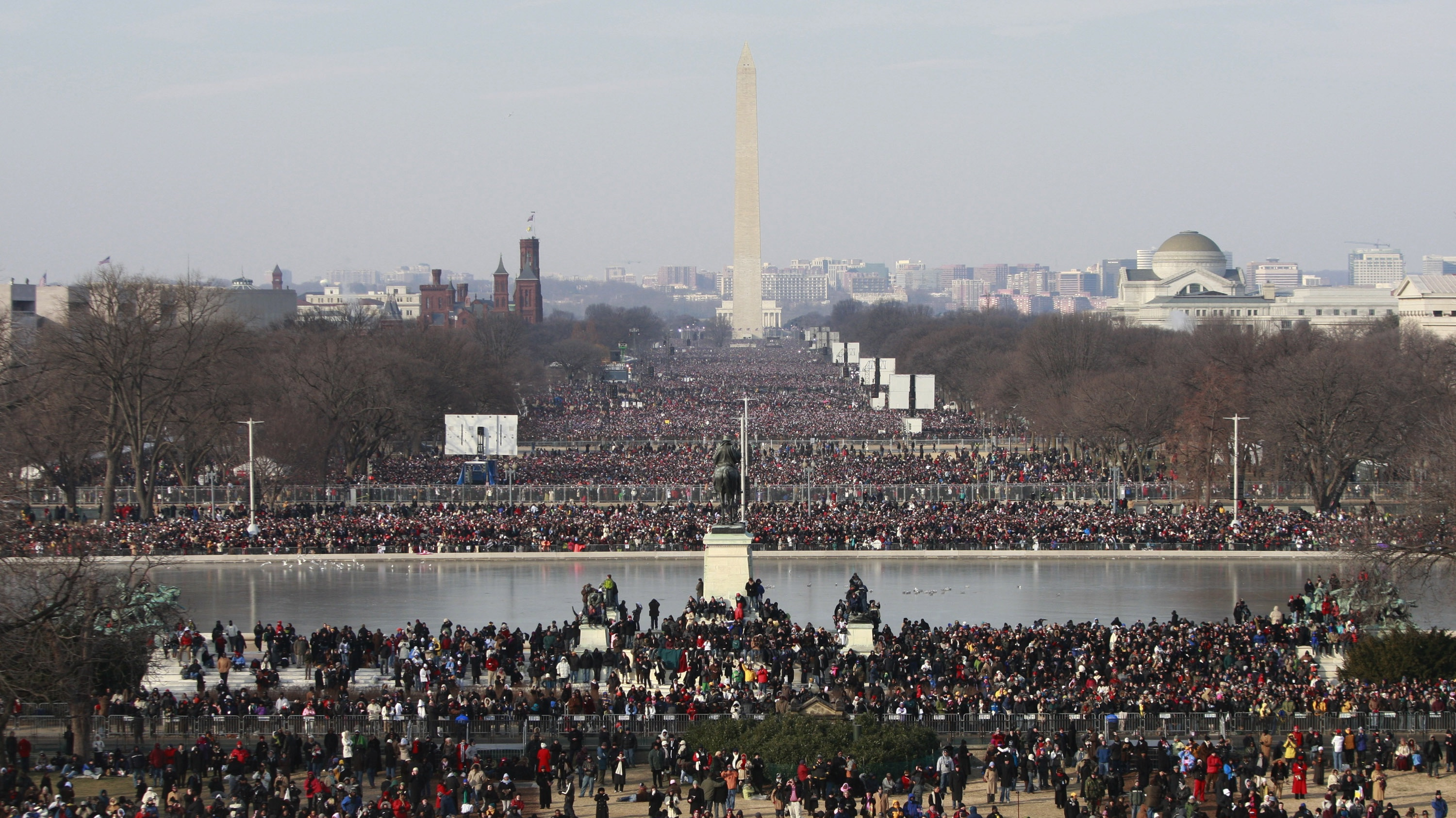The National Mall is seen in Washington prior to the inauguration ceremony in Washington