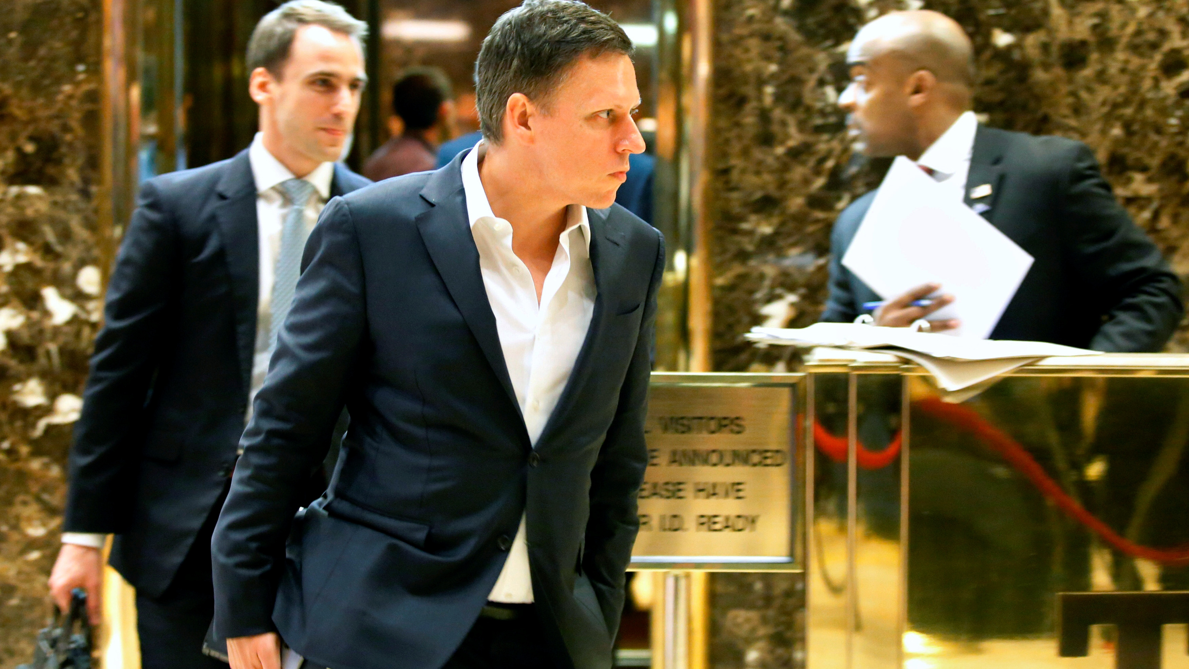 Entrepreneur and investor Peter Thiel exits an elevator after a meeting at Trump Tower in New York, U.S. November 16, 2016.