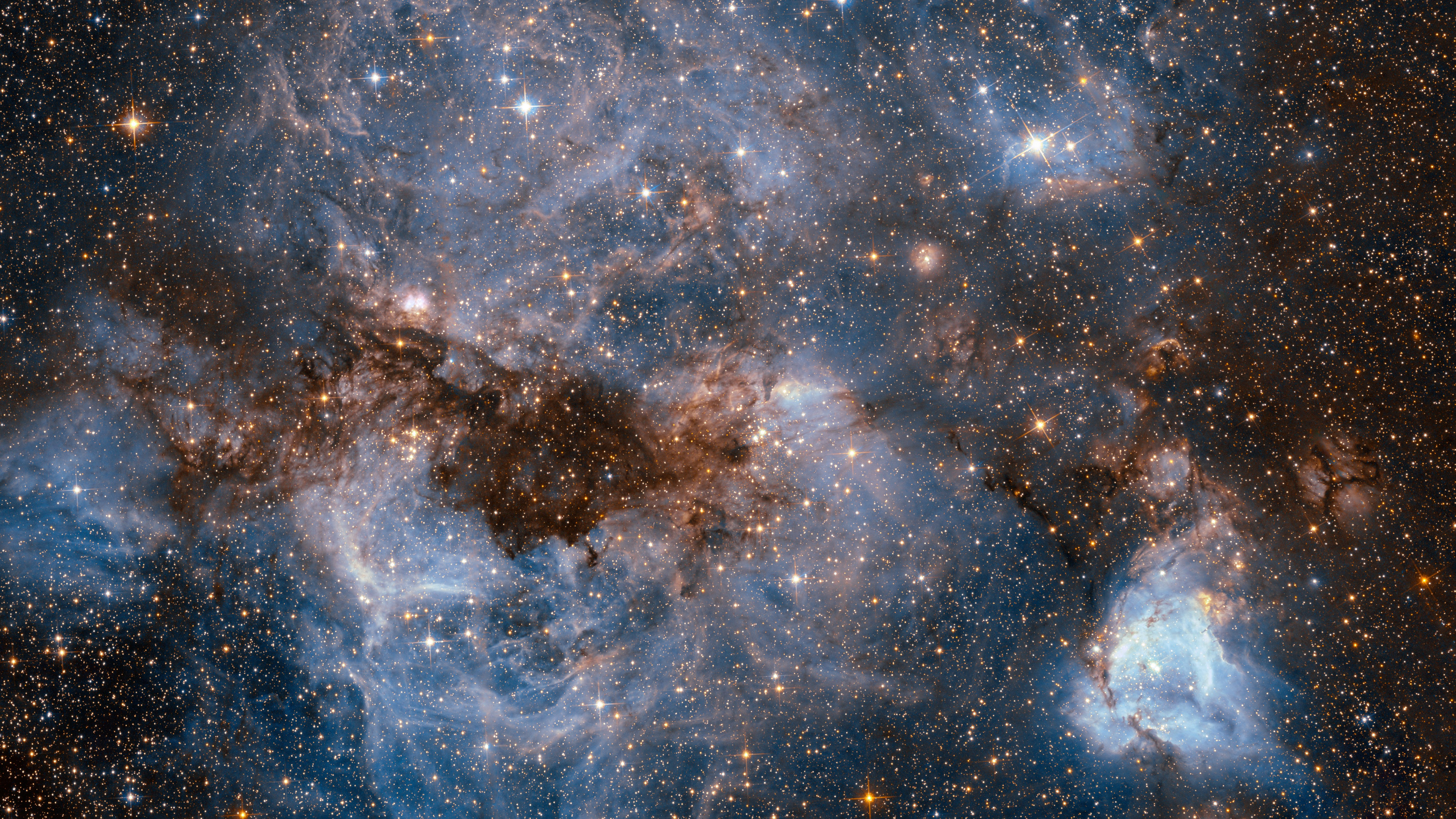 This shot from the NASA/ESA Hubble Space Telescope shows a maelstrom of glowing gas and dark dust within one of the Milky Way's satellite galaxies, the Large Magellanic Cloud (LMC).
