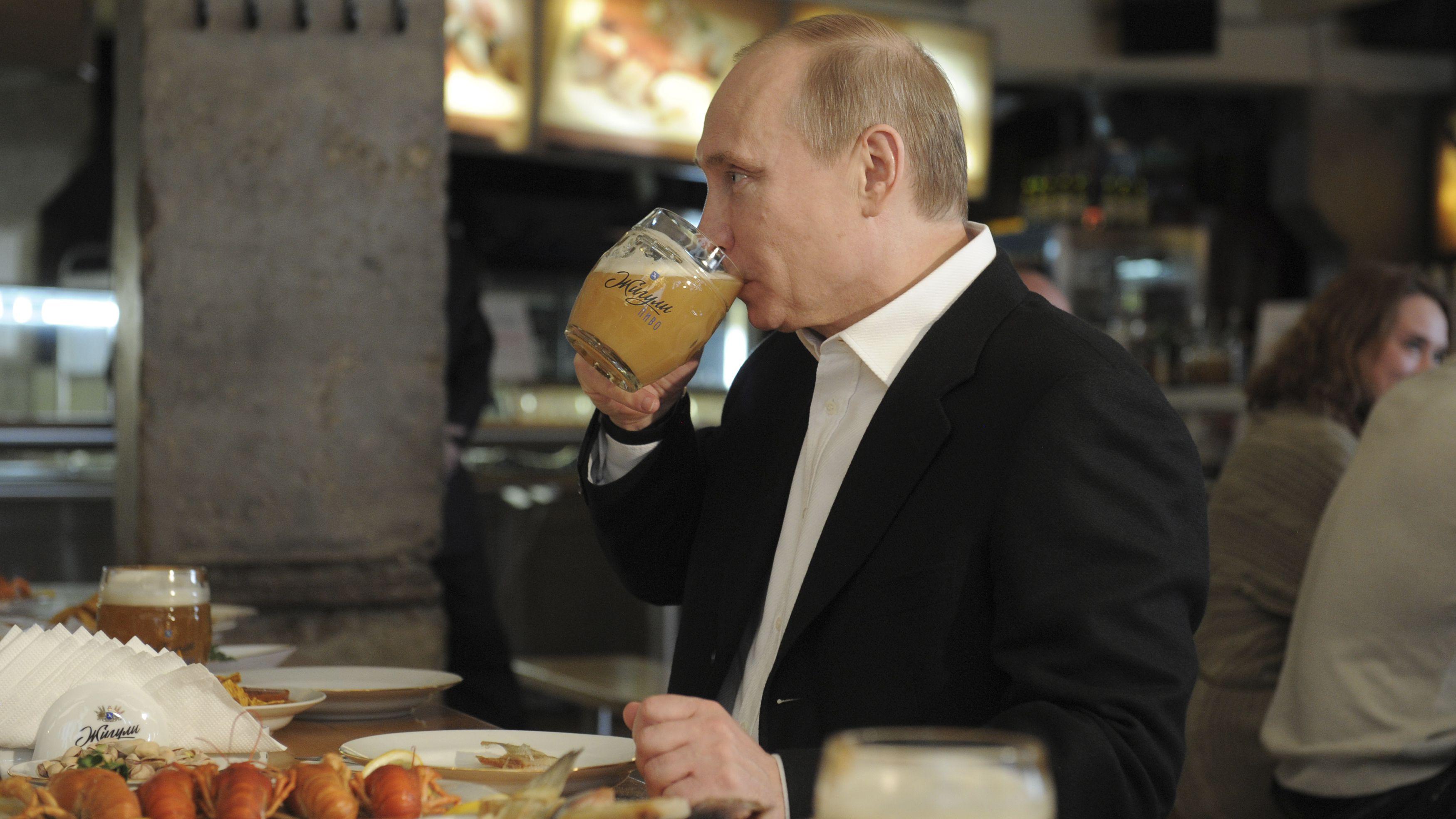 russian president prime minister vladimir putin beer