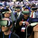 People wear Samsung Gear VR devices as they attend the launching ceremony of the new Samsung S7 and S7 edge smartphones during the Mobile World Congress in Barcelona, Spain, February 21, 2016.