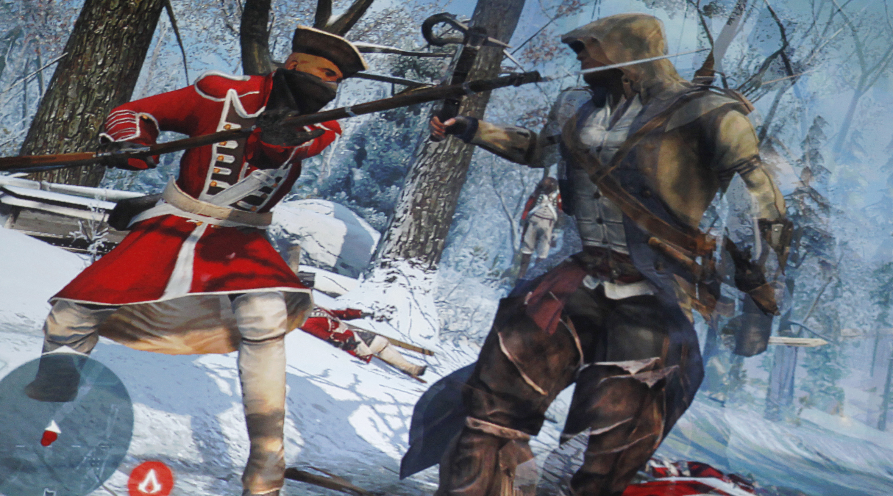 """A scene from the new video game """"Assassin's Creed III"""" is presented at the Ubisoft press briefing during the E3 game expo in Los Angeles, California June 4, 2012."""