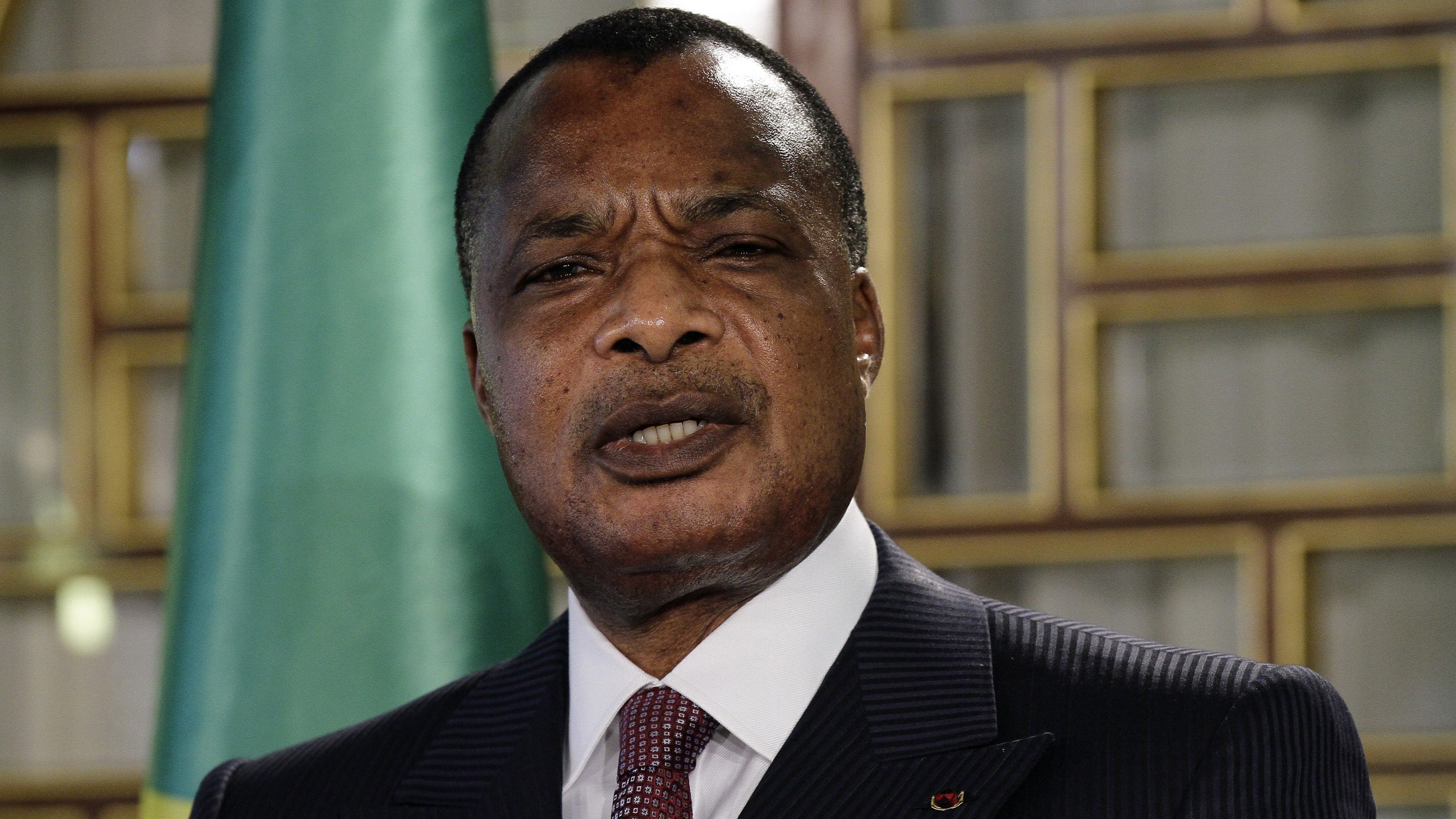 Congo Republic President Denis Sassou Nguesso speaks during a news conference at Carthage Palace in Tunis