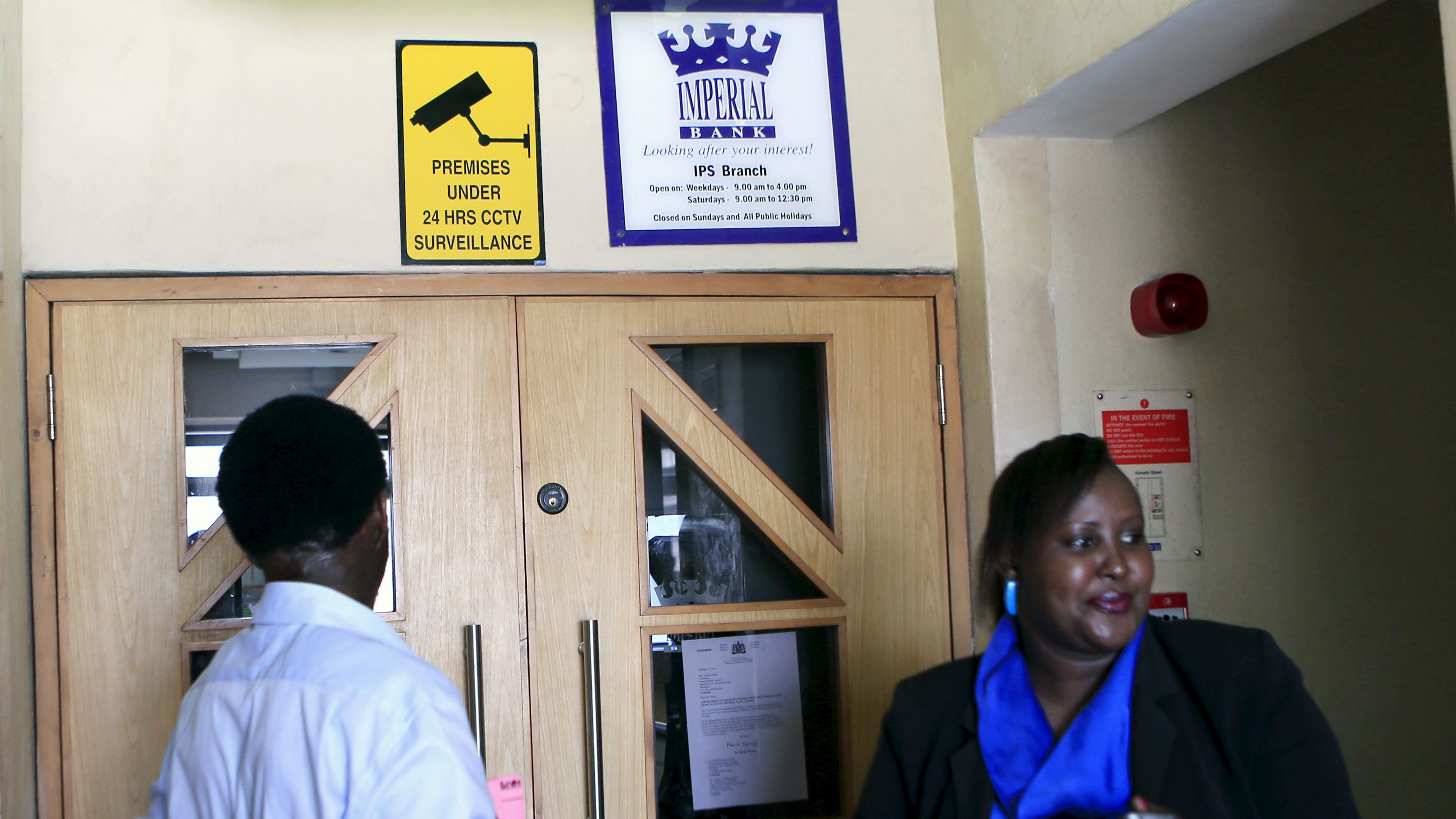 Imperial Bank customers arrive only to find the doors to their bank closed in capital Nairobi