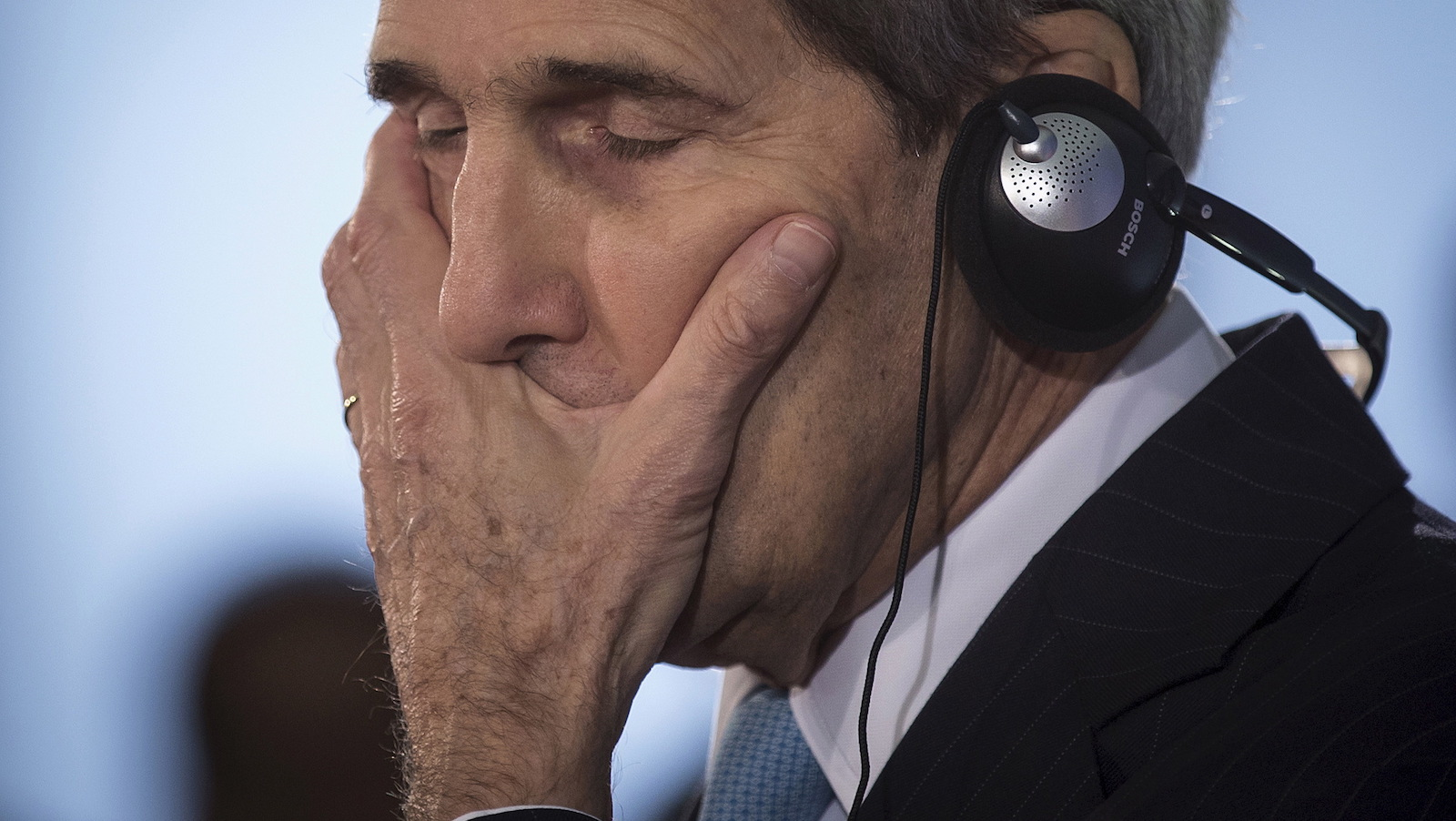 """United States Secretary of State John Kerry reacts during a press briefing with Germany's Foreign Minister Frank-Walter Steinmeier in Berlin, Germany October 22, 2015. Kerry said talks with Israeli Prime Minister Benjamin Netanyahu on Thursday gave him a """"cautious measure of optimism"""" that tensions between Israelis and Palestinians could be defused. REUTERS/Carlo Allegri - RTS5MNU"""