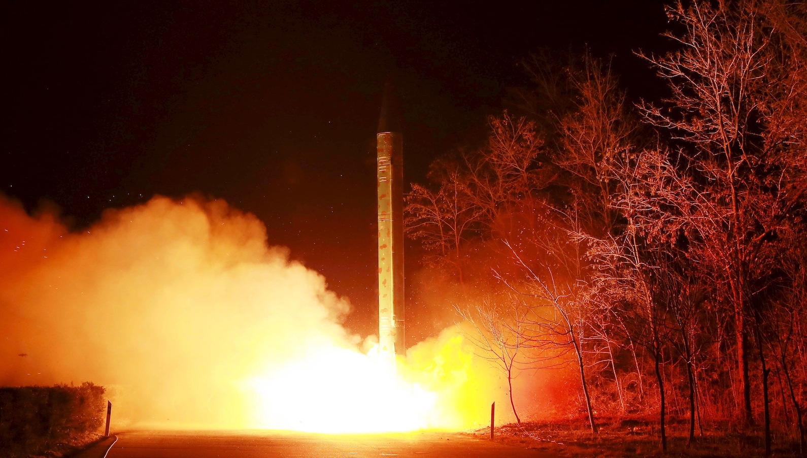 A ballistic rocket launch drill of the Strategic Force of the Korean People's Army (KPA) is seen at an unknown location, in this undated photo released by North Korea's Korean Central News Agency (KCNA) in Pyongyang on March 11, 2016.     TPX IMAGES OF THE DAY      REUTERS/KCNA      ATTENTION EDITORS - THIS PICTURE WAS PROVIDED BY A THIRD PARTY. REUTERS IS UNABLE TO INDEPENDENTLY VERIFY THE AUTHENTICITY, CONTENT, LOCATION OR DATE OF THIS IMAGE. FOR EDITORIAL USE ONLY. NOT FOR SALE FOR MARKETING OR ADVERTISING CAMPAIGNS. NO THIRD PARTY SALES. NOT FOR USE BY REUTERS THIRD PARTY DISTRIBUTORS. SOUTH KOREA OUT. NO COMMERCIAL OR EDITORIAL SALES IN SOUTH KOREA. THIS PICTURE IS DISTRIBUTED EXACTLY AS RECEIVED BY REUTERS, AS A SERVICE TO CLIENTS. - RTSAAQK