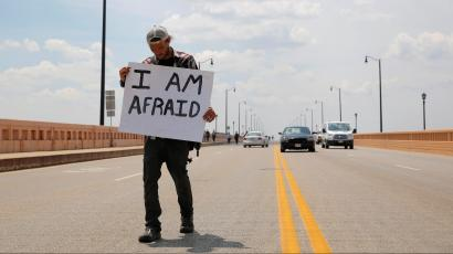 A protestor at the Republican National Convention in Cleveland.