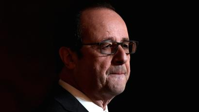French President Francois Hollande delivers a speech